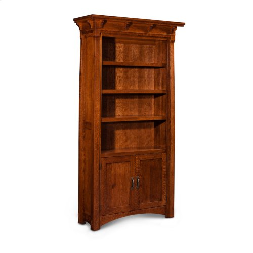 MaRyan Bookcase, Wood Doors on Bottom, M Ryan Bookcase, Wood Doors on Bottom, 3-Adjustable Shelves
