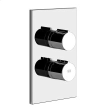 "TRIM PARTS ONLY External parts for 2-way thermostatic diverter and volume control Single backplate 1/2"" connections Vertical/Horizontal application Anti-scalding Requires in-wall rough valve 09270"