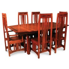"""Aspen Trestle Table with Inlay, 48"""" x 80"""", 4-Leaves, SATE-60, Cherry #26 Michael's, Aspen Trestle Table, 48""""x80"""", 4-Leaves, SATE-60, Ball Bearing Slides & Self Storing Leaves, Cherry"""