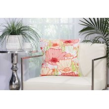 """Outdoor Pillow L3163 White 18"""" X 18"""" Throw Pillow"""