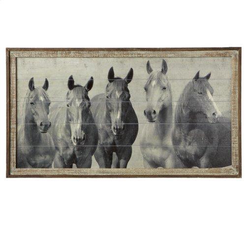 Framed Slat Horses Wall Decor