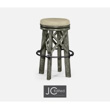 Country Style Antique Dark Grey & Iron Bar Stool, Upholstered in MAZO