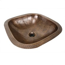 "16.25"" Hand Hammered Copper Square Undermount Bathroom Sink With Overflow"