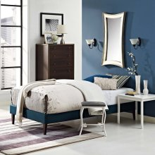 Tessie Twin Fabric Bed Frame with Squared Tapered Legs in Azure