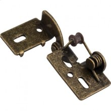 """Self-Closing Non-Wrap Steel Knife Hinge Antique Brass 3/8"""" Inset"""