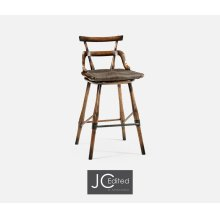 Dark Brown Oak Side Bar Stool with Studded Haven Leather Seat