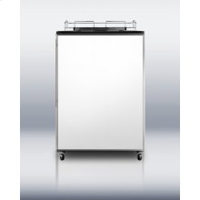 Freestanding auto defrost commercial beer dispenser in black with stainless steel frame for custom panels; no tap kit included