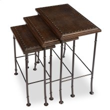 Croc Leather Nesting Tables, Set/3