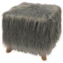 HOFFMAN OTTOMAN  Gray Faux Fur on Wood Frame