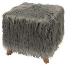 HOFFMAN OTTOMAN  Gray Faux Fur on Wood Frame