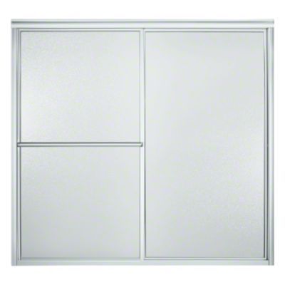 """Deluxe Sliding Bath Door - Height 56-1/4"""", Max. Opening 59-3/8"""" - Silver with Pebbled Glass Texture"""