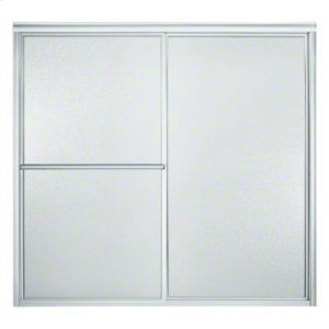 "Deluxe Sliding Bath Door - Height 56-1/4"", Max. Opening 59-3/8"" - Silver with Pebbled Glass Texture Product Image"