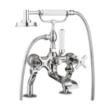 Waldorf Exposed Deck-mount Bathtub Faucet with Handshower and Cross Handles - Polished Chrome