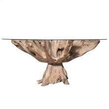 JAKARTA LARGE DINING TABLE- NATURAL  Chamcha Natural Finished Wood with a Round Beveled Edge Glass