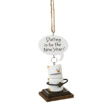 "Toasted S'mores ""Dieting is for the New Year!"" Ornament."