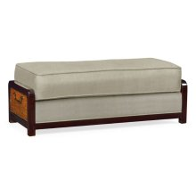 Sonokelling & Brown Rattan Ottoman, Upholstered in MAZO; Pairs with 500078-44L-SKL-F001