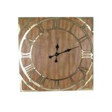 Square Wood/gold Wall Clock, Wb