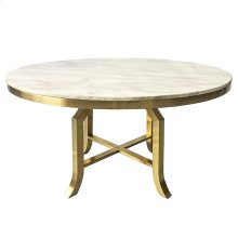 FILLMORE DINING TABLE  Brushed Gold Finish on Metal with Marble Top