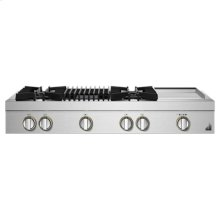 """RISE 48"""" Gas Professional-Style Rangetop with Chrome-Infused Griddle and Grill"""