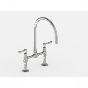 "Brushed Stainless - Deck Mount 10"" Swivel Spout with Metal Lever Product Image"
