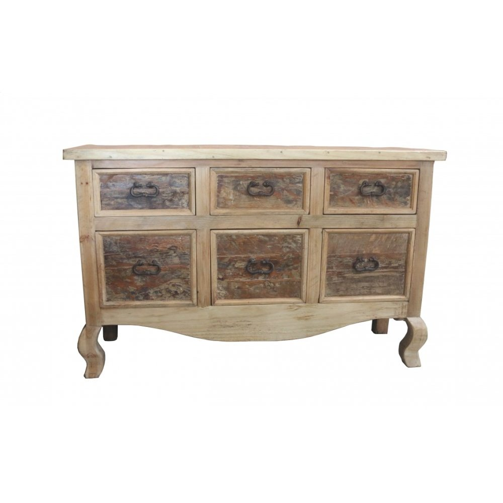 Factory 4 Rustic 6-Drawer Console w/ Queen Anne Legs