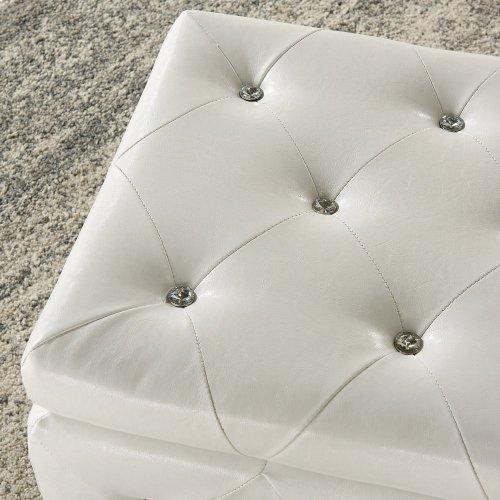 Monique Rectangular Storage Ottoman in White