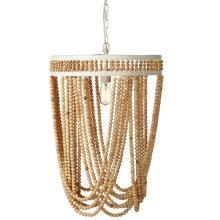 Natural Beaded Pendant Chandelier. 60W Max. Hard Wire Only.