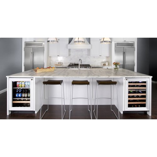 24 Inch Overlay Solid Door Beverage Center - Right Hinge Overlay Solid