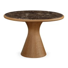 Round Tan Rattan & Marble Dining Table