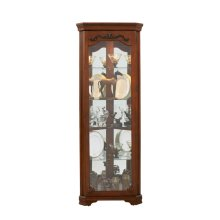 Carved 5 Shelf Corner Curio Cabinet in Eden Oak Brown