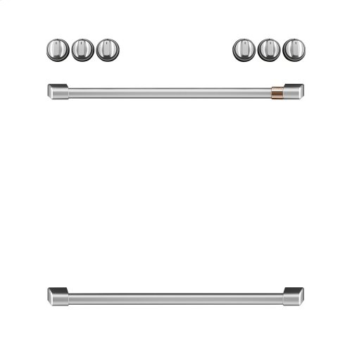 Café Front Control Induction Knobs and Handles - Brushed Stainless