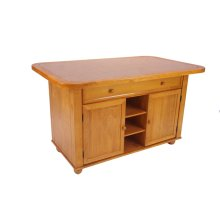 CY-KITT02-LO  Light Oak Kitchen Island with Terracotta Rose Tile Top