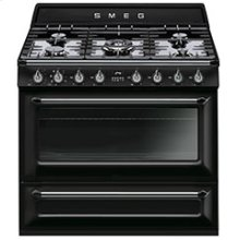 """Free-standing Dual Fuel Cavity """"Victoria"""" Range Approx. 36"""" Stainless steel - Glossy Black Enamel"""