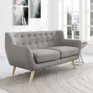 Remark Upholstered Fabric Loveseat in Light Gray Product Image