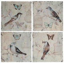 "36402  S/4 16x16"" Spring Flutter Pastel Art Panels 1S/CTN"