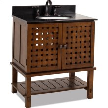 """31-1/2"""" vanity with Nutmeg finish, unique basket weave design on the cabinet doors, open shelf, and preassembled top and bowl."""