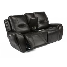 Trip Leather Power Reclining Loveseat with Console and Power Headrests