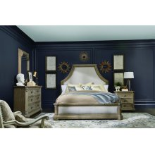 Arch Salvage Eastern King Bryce Upholstered Bedroom Set: King Bed, Nightstand, Dresser & Mirror