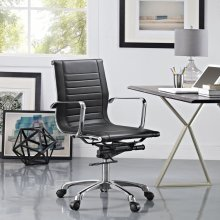 Runway Mid Back Upholstered Vinyl Office Chair in Black