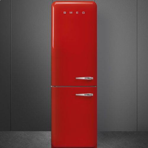 """Approx 24"""" 50'S Style refrigerator with automatic freezer, Red, Left hand hinge"""
