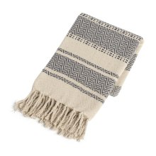 Navy & Grey Chevron Stripe Throw with Braided Fringe