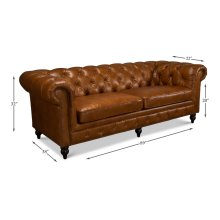 Tufted English Club Sofa, Cuba Brown