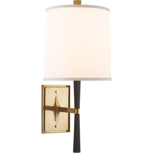 Visual Comfort BBL2036EBO-S Barbara Barry Refined Rib 1 Light 8 inch Ebonized Oak and Soft Brass Decorative Wall Light
