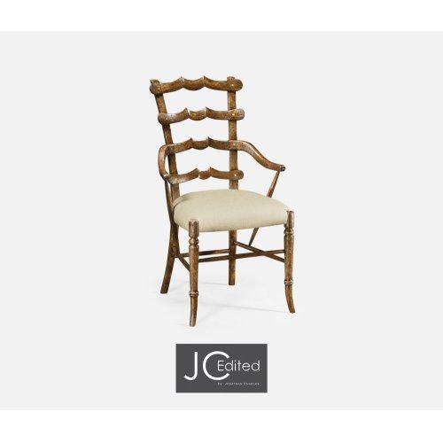 "Country Walnut ""Yoke"" Ladderback Armchair, Upholstered in MAZO"