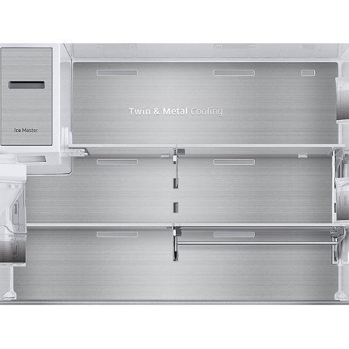 23 cu. ft. Counter Depth 4-Door French Door Refrigerator with Polygon Handles in Black Stainless Steel
