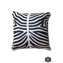 ELLIOTT PILLOW- BLACK  Hand Embroidered Wool on Cotton  Down Feather Insert