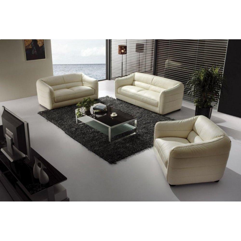 Divani Casa 371 Modern Beige Leather Sofa Set