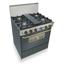"""30"""" Dual Fuel, Convect, Self Clean, Open Burners, Black with Brass"""