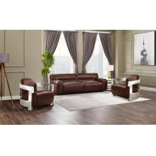 SU-AX6816-S2A  Leather 3 Piece Living Room Set  Sofa  Two Aviator Chairs with Chrome Arms  Brown