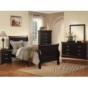 Louis Phillipe III KD Black Finish Full Size Bedroom Set Product Image